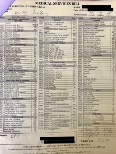 DCL Health Center cost sheet